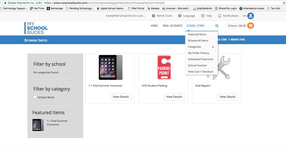 Screenshot of My School Bucks Page and Navigation.