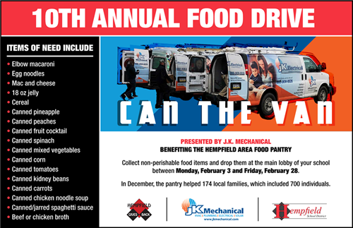 10th Annual Food Drive Flyer.
