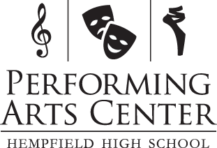Performing Arts Center logo - musical note, theater masks, ballet shoe
